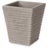 Vaso quadrato rigato cm.30 avana